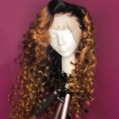 150% T1B/#27 Ombre Loose Wave Human Hair Lace Front Wigs