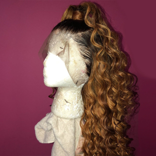 T1B/#30 Ombre Loose Wave Human Hair Lace Front Wigs