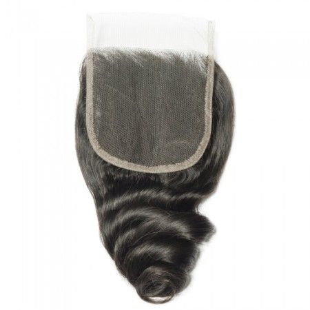 "08-20 Inch 4"" x 4"" Loose Wave Lace Closure #1B Natural Black"