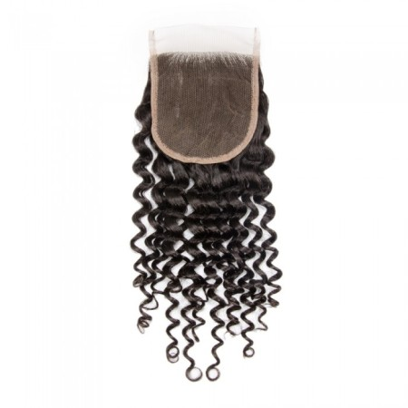 "08-20 Inch 4"" x 4"" Deep Curly Lace Closure #1B Natural Black"
