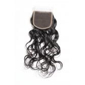 """08-20 Inch 4"""" x 4"""" Natural Wavy Lace Closure #1B Natural Black 130%"""