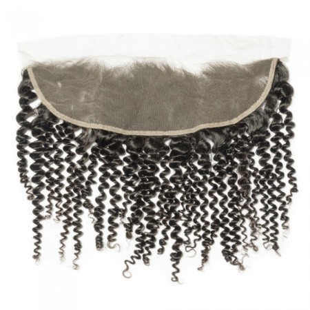 """08-20 Inch 13"""" x 4"""" Kinky Curly Frontal #1B Natural Black"""