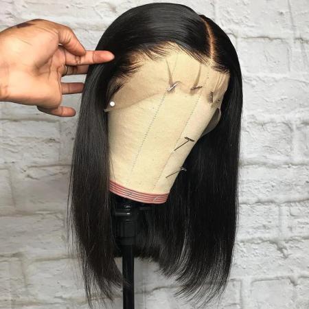 08-18inch 130% density Short Bob Lace Front Human Hair Wigs