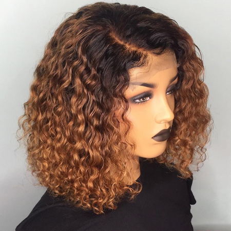 150% density 1B/#27 Deep Curly Short Bob Lace Front Human Hair Wigs