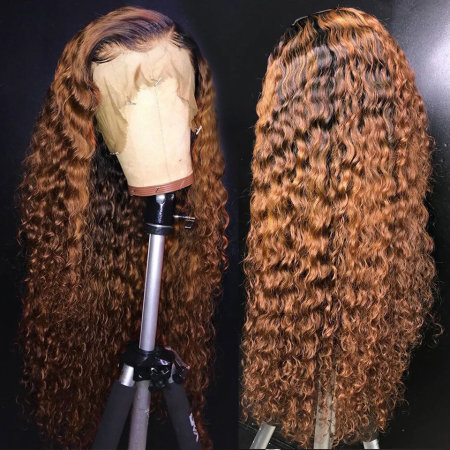 150% T1B/#27 Curly Human Hair Lace Front Wigs