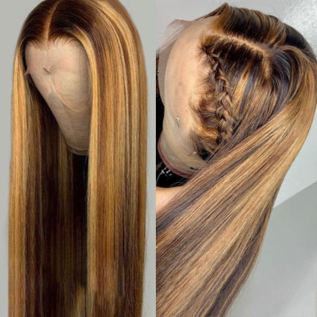 L1B/#27 Ombre Straight Human Hair Lace Front Wigs