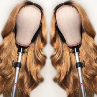 T1B/#27 Ombre Loose Wave Human Hair Lace Front Wigs