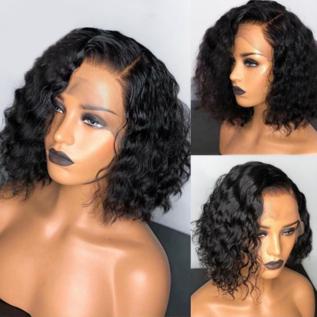 130% density Short Deep Curly BOB Wigs Brazilian Lace Front Human Hair Wig