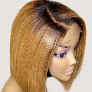 130% density #1B/27 Colored Short Bob 08-18inches Lace Front Wigs For Black Women
