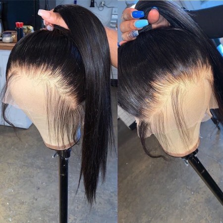 13*6 Lace Wig Straight Lace Front Human Hair Wigs Medium Brown & Transparent Lace Available