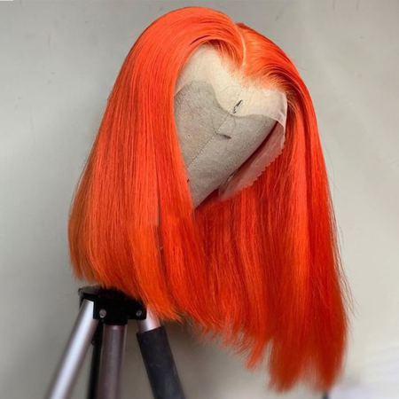 #Orange Color Lace Front Human Wigs Short Bob Straight 13*4