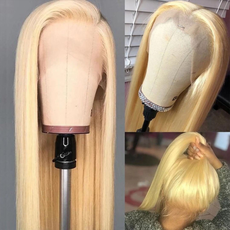 13*4 #613 Blonde Straight 100% Human Hair Lace Front Wigs
