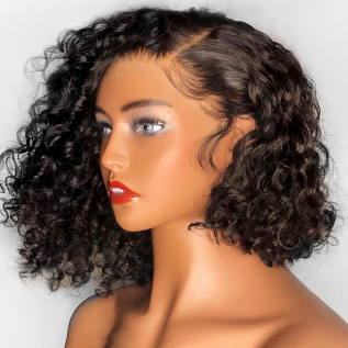 130% density Short Deep Curly BOB Wigs Brazilian Lace Front Human Hair Wig