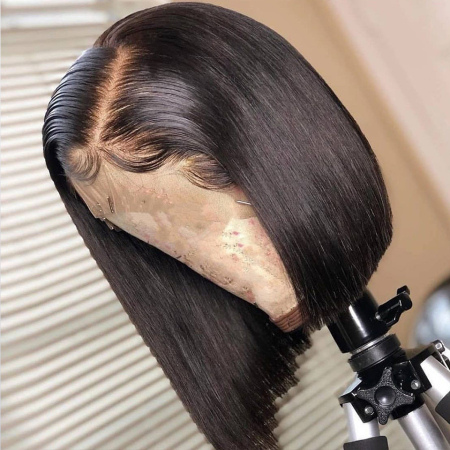 #1B Short Bob 250% density Lace Front Human Hair Wigs