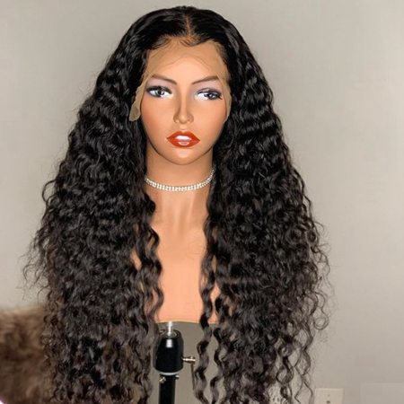 13*4 Lace Wig Curly Lace Front Human Hair Wigs Medium Brown & Transparent Lace Available