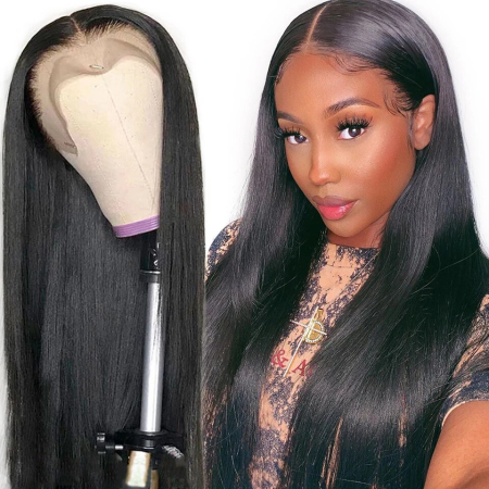 13*4 Lace Wig Straight Lace Front Human Hair Wigs 130% 180% density Medium Brown & Transparent Lace Available
