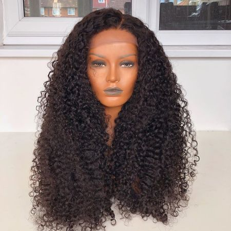 Loose Kinky Wave 13*4 Lace Front Human Hair Wigs Medium Brown & Transparent Lace Available