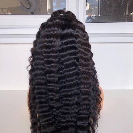 13*4 Lace Wig Deep Wave Lace Front Human Hair Wigs Medium Brown & Transparent Lace Color Available