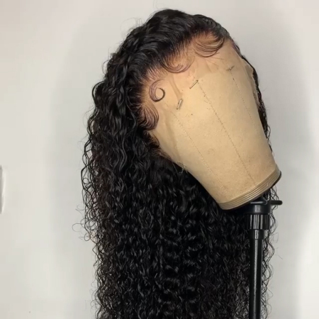 13*4 Lace Wig Deep Curly Lace Front Human Hair Wigs Medium Brown & Transparent Lace Color Available