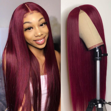 150% 1B#99J Lace Front Human Wigs Straight Lace Wigs