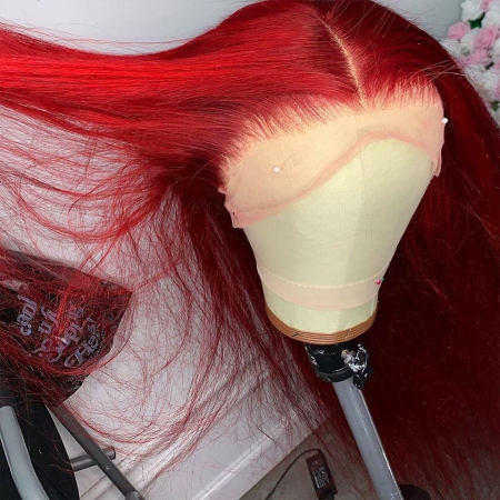 Red Color 13*4 Lace Front Human Wigs Straight Lace Wigs