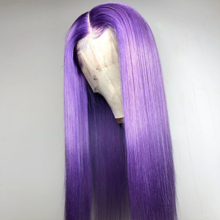 Purple Color 13*4 Lace Front Human Wigs Straight Lace Wigs
