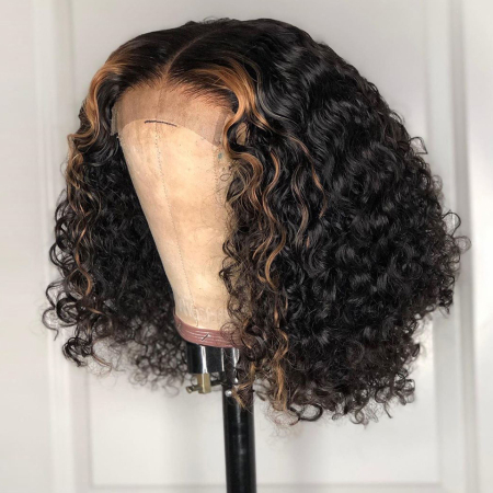 180% density 1B/#27 Deep Curly Short Bob Lace Front Human Hair Wigs