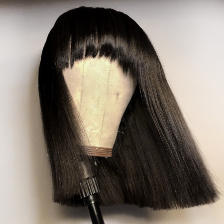 13*4 Straight Bangs Lace Front Human Hair Bob Wigs 180% density Medium Brown & Transparent Lace Available