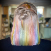 #Ombre Rainbow Color 180% Lace Front Human Wigs Short Bob Straight 13*4