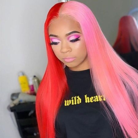 Ombre Pink & Red Color 13*4 Lace Front Human Wigs Straight Lace Wigs