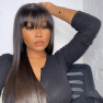 13*4 Straight Bangs Lace Front Human Hair Wigs Medium Brown & Transparent Lace Available